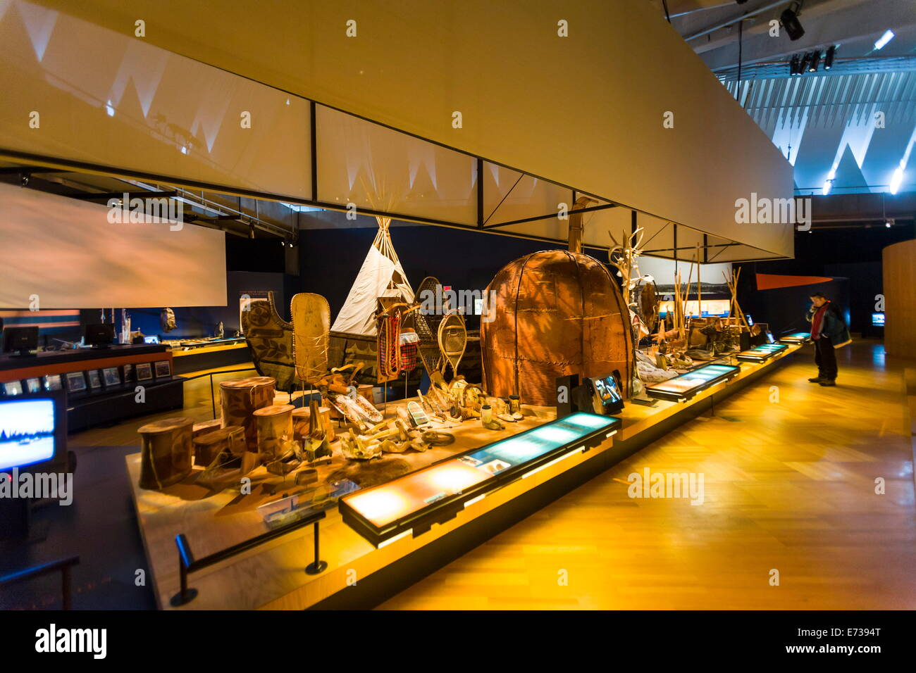Dispaly of First Nations artifacts, Museum of Civilization, Quebec City, Quebec, Canada, North America - Stock Image