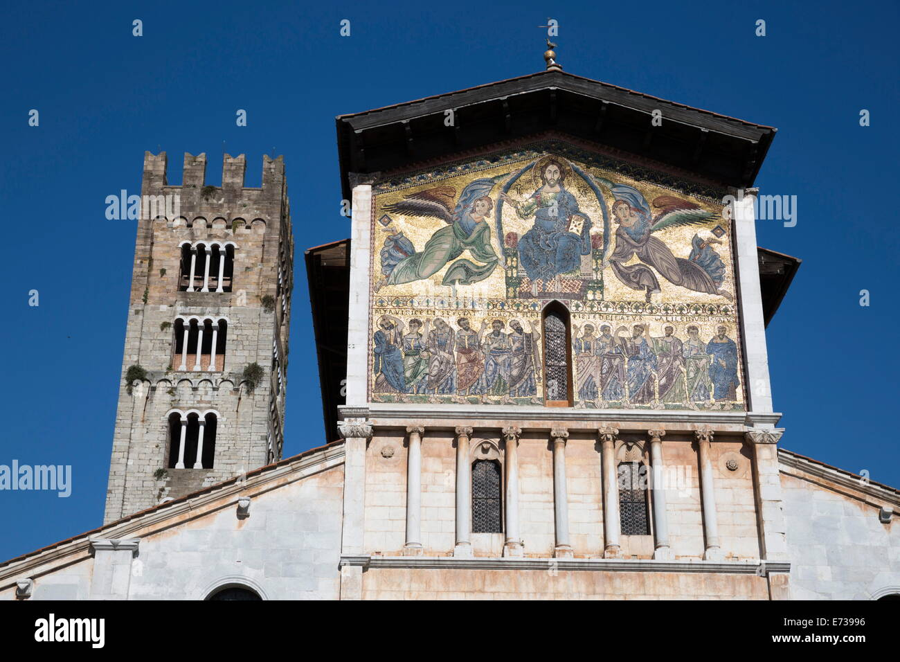 Thirteenth-century mosaic of The Ascension on the facade of San Frediano, Lucca, Tuscany, Italy, Europe Stock Photo