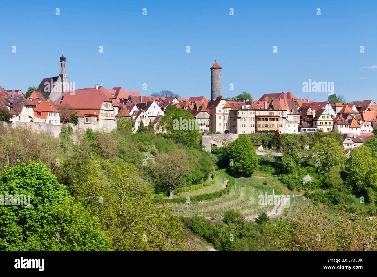 Rothenburg ob der Tauber, Romantic Road (Romantische Strasse), Franconia, Bavaria, Germany, Europe - Stock Image