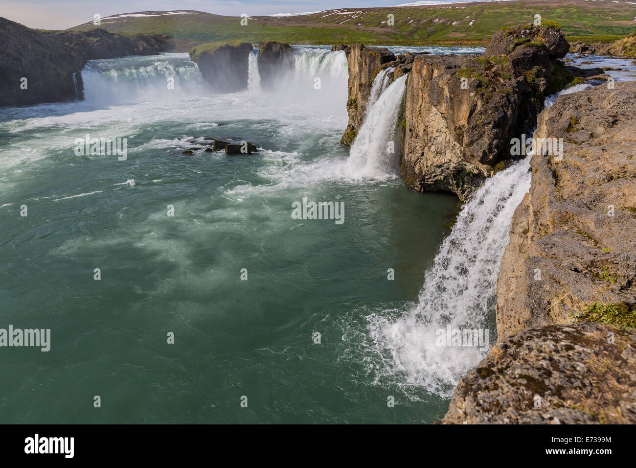 One of Iceland's most spectacular waterfalls, Godafoss (Waterfall of the Gods), outside Akureyri, Iceland, Polar - Stock Image