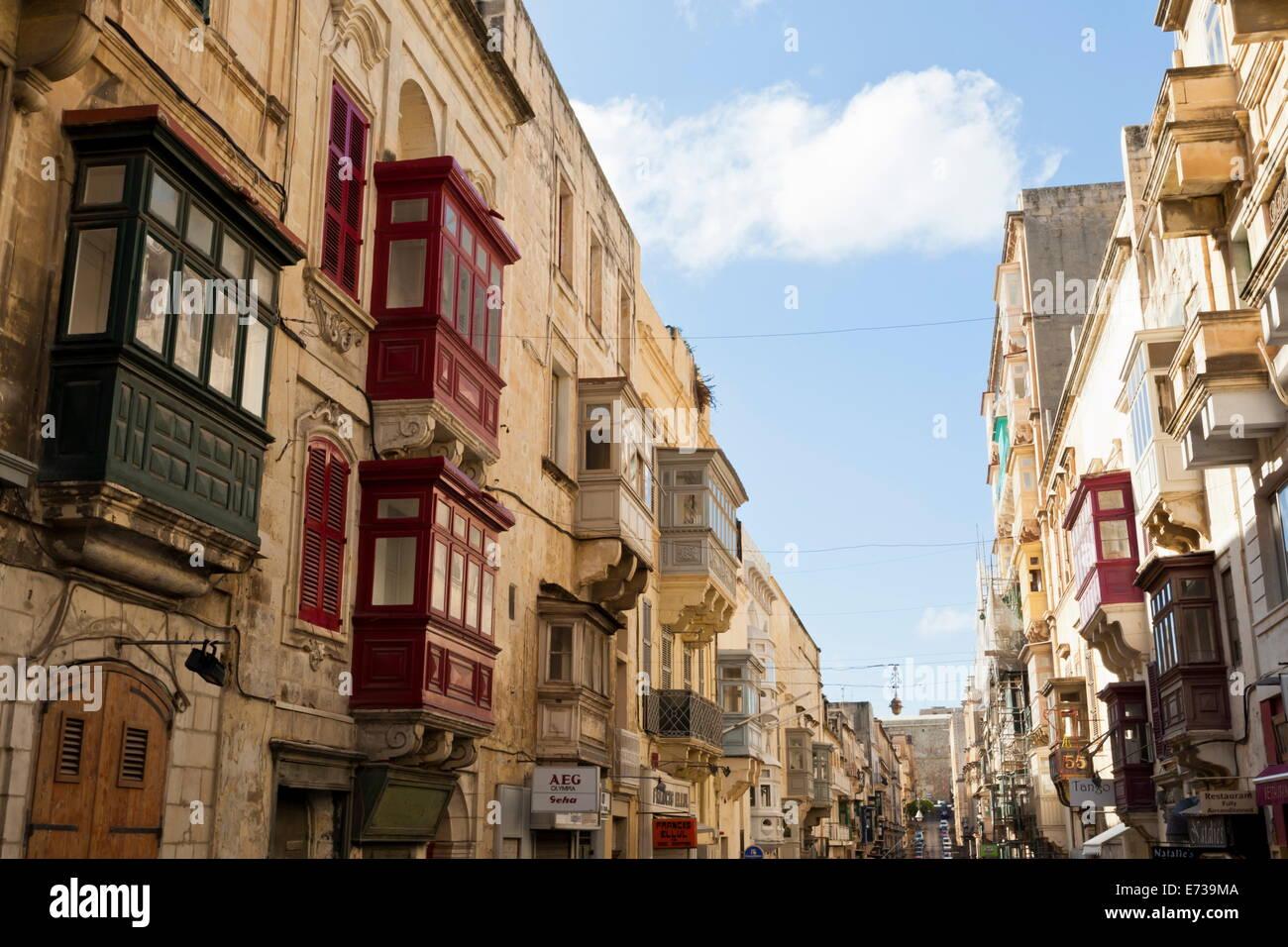 Maltese balconies in the old town, Valletta, Malta, Europe - Stock Image