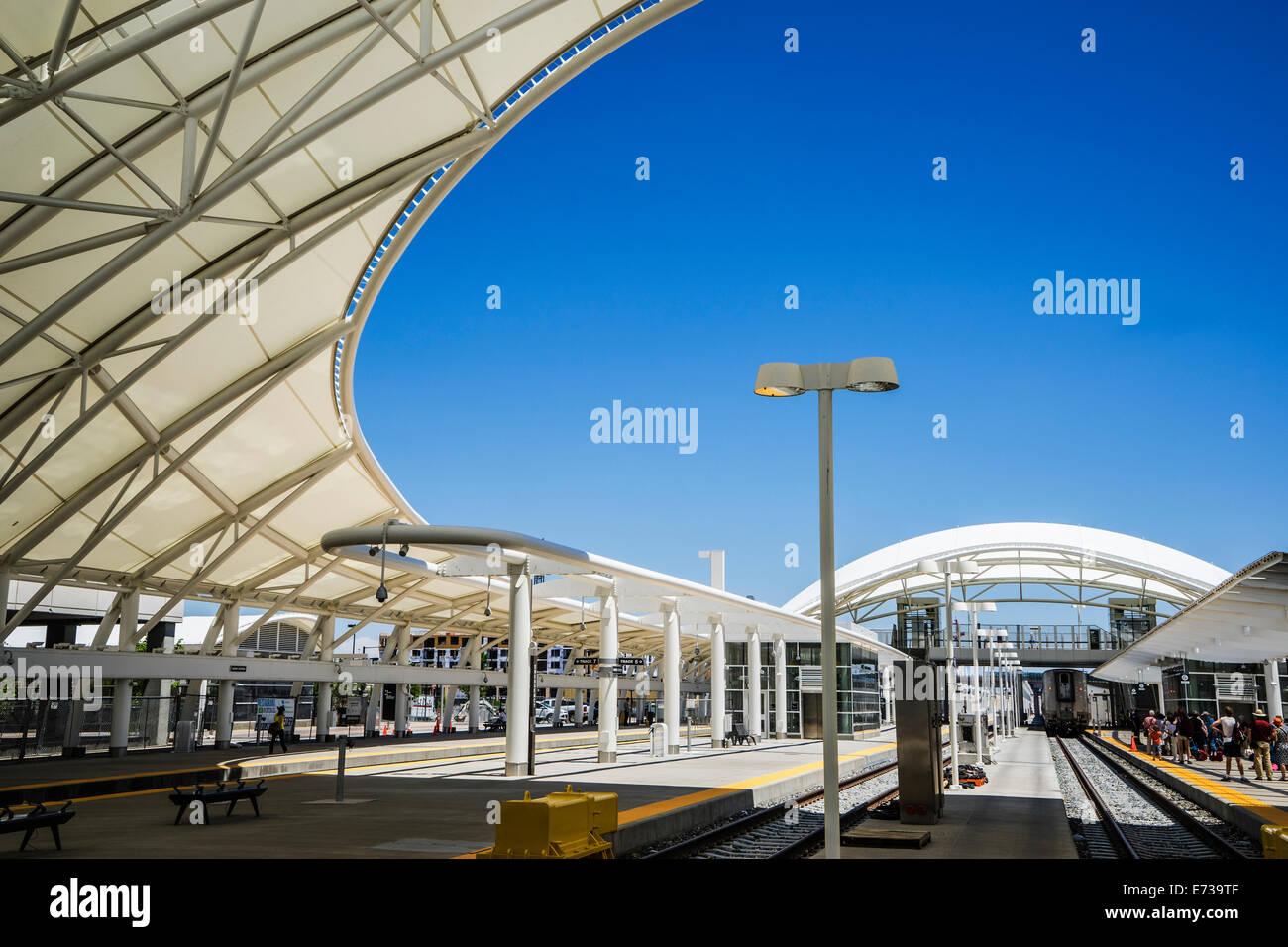 Denver Union Railroad Station white protective canopy Stock Photo