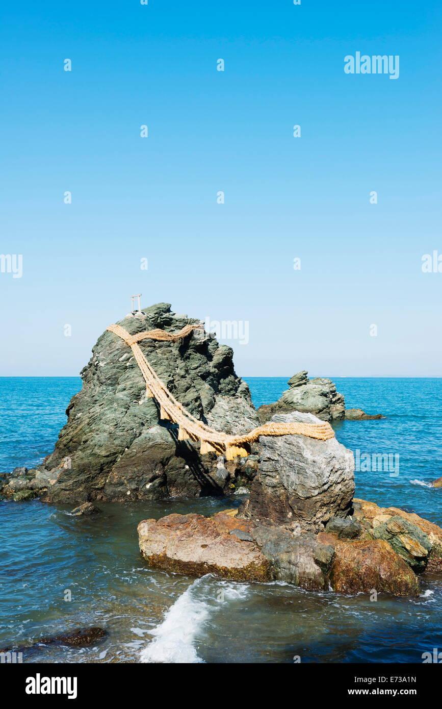 Futaminoura rocks, Meoto-Iwa (Wedded Rocks), Mie Prefecture, Honshu, Japan, Asia - Stock Image
