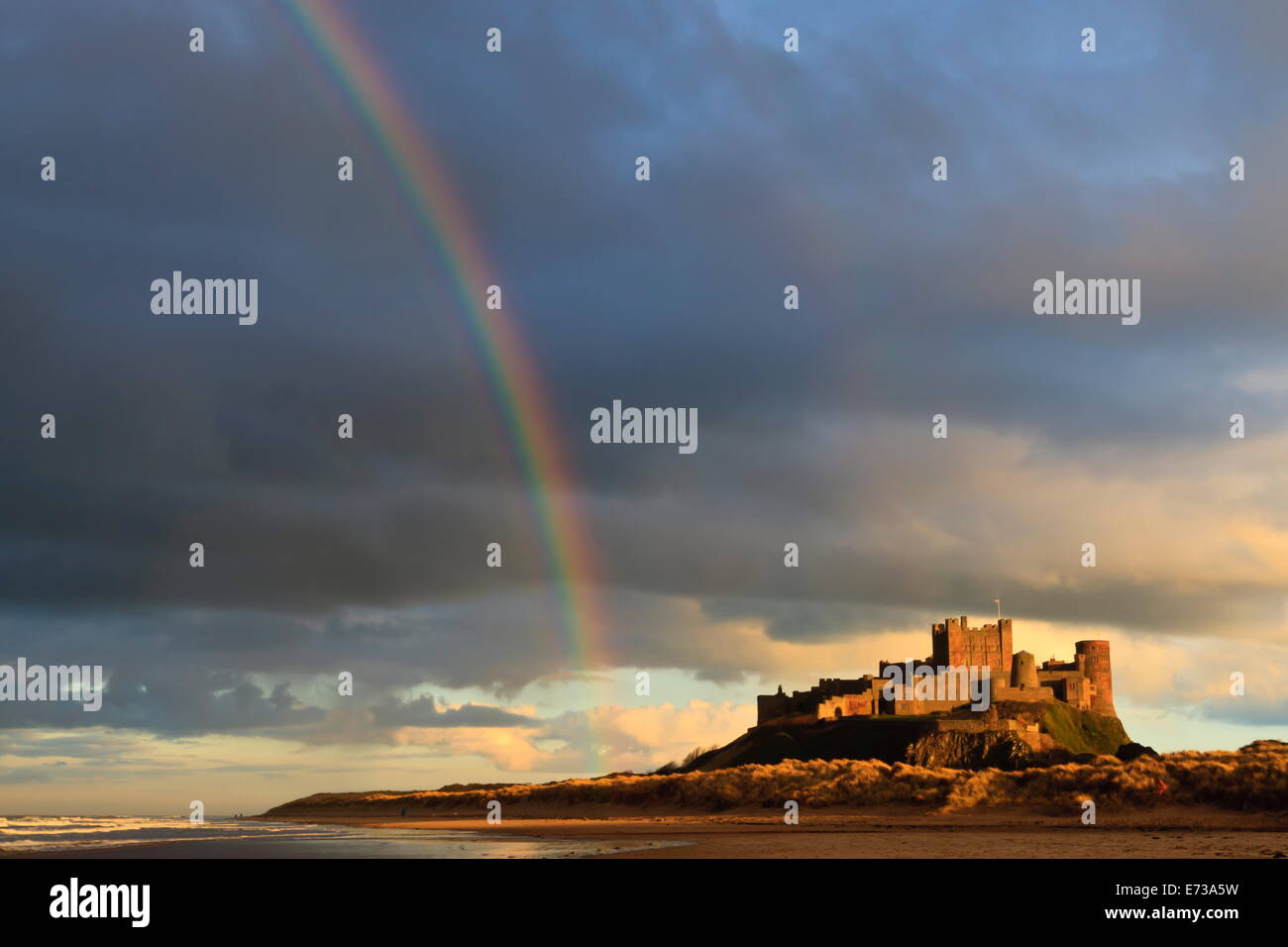 Rainbow's end at Bamburgh Castle, Bamburgh, Northumberland, England, United Kingdom, Europe - Stock Image