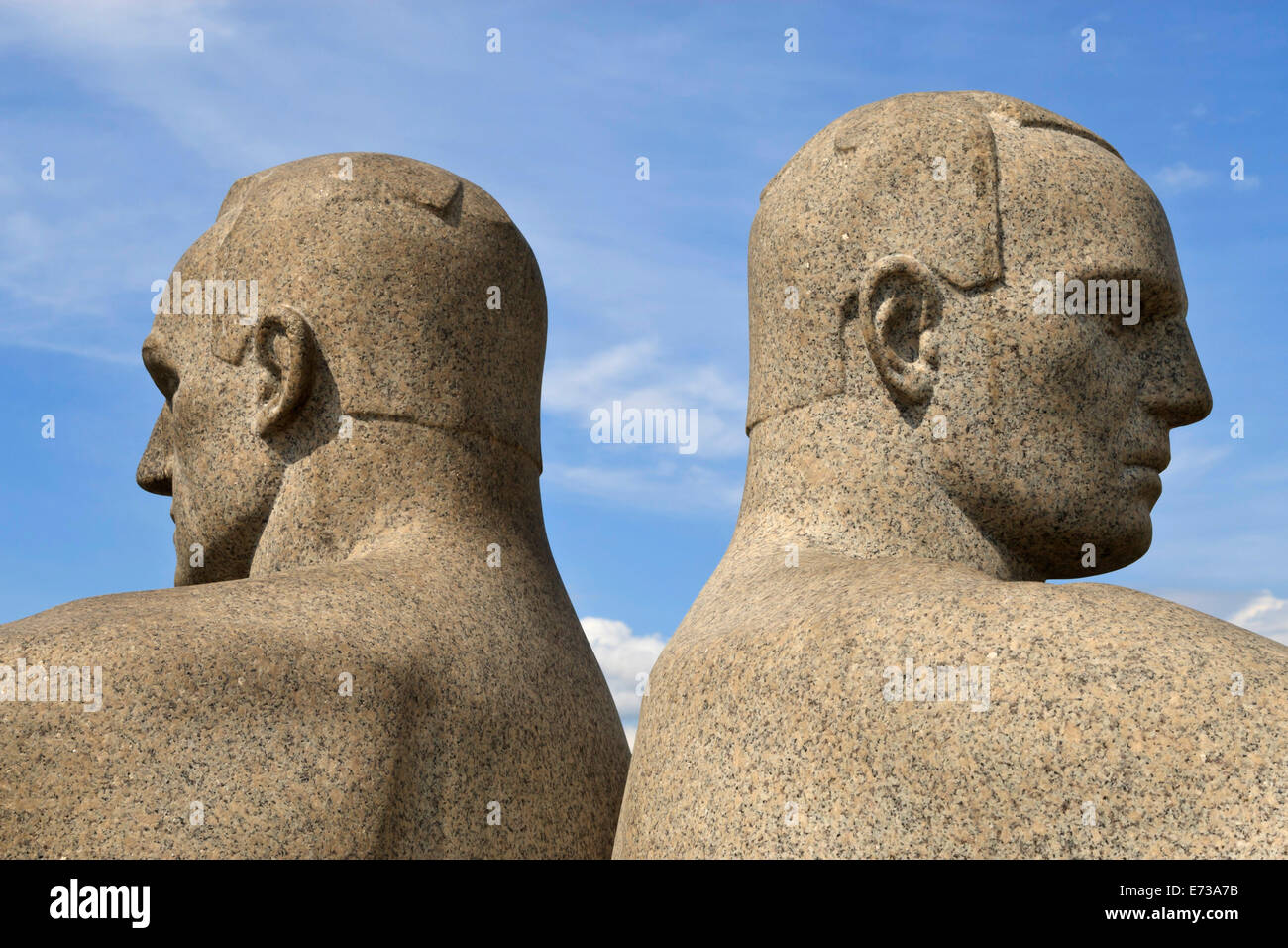 Back to back, detail of a sculptural group on the Monolith Plateau by Gustav Vigeland, Frogner Park, Oslo, Norway, - Stock Image