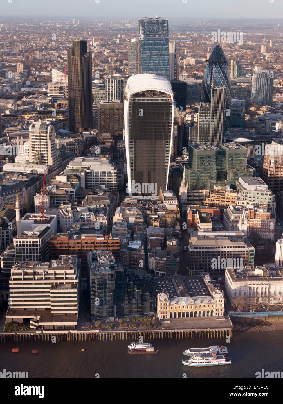 Aerial London Cityscape dominated by Walkie Talkie tower, London, England, United Kingdom, Europe - Stock Image