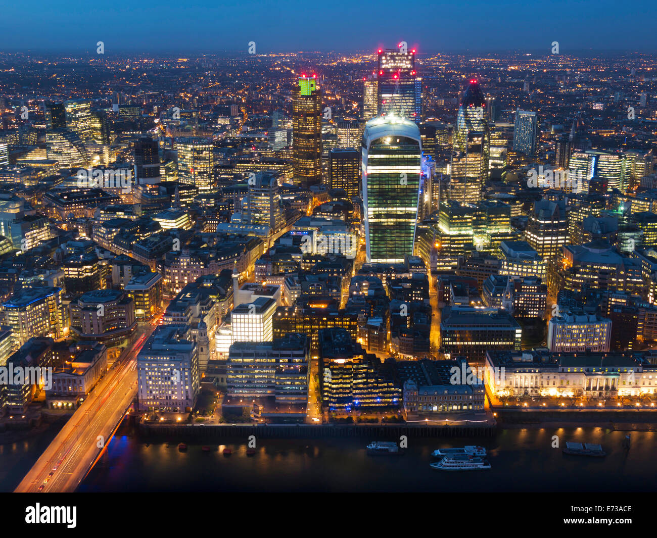 Aerial London Cityscape dominated by Walkie Talkie tower at dusk, London, England, United Kingdom, Europe - Stock Image