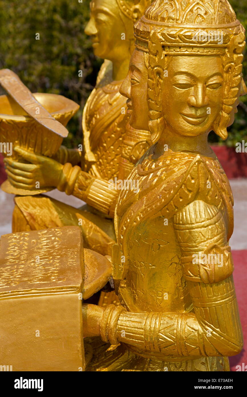 Gold statue in Wat Krom Temple, Sihanoukville Port, Sihanouk Province, Cambodia, Indochina, Southeast Asia, Asia - Stock Image