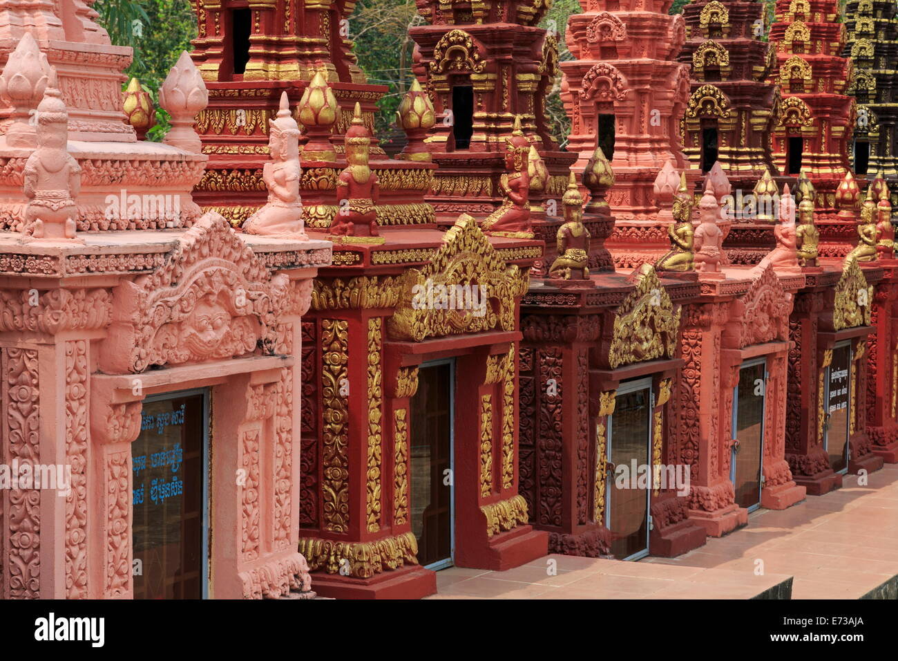 Cemetery in Wat Krom Temple, Sihanoukville Port, Sihanouk Province, Cambodia, Indochina, Southeast Asia, Asia - Stock Image