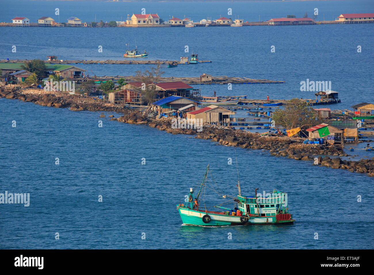 Fishing village in Sihanoukville Port, Sihanouk Province, Cambodia, Indochina, Southeast Asia, Asia Stock Photo