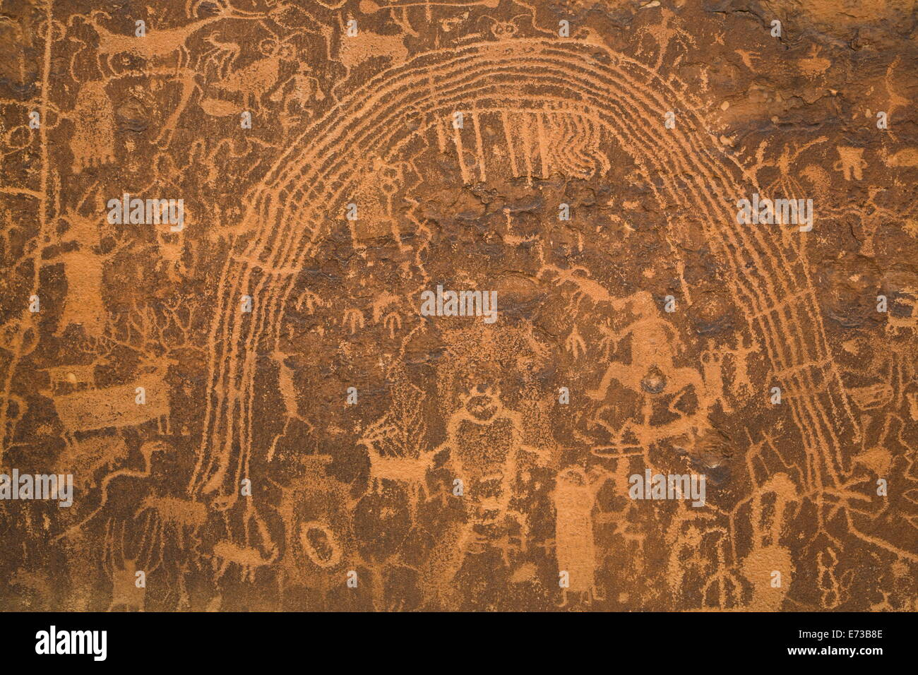 Rochester Petroglyph Panel, contains both Barrier Canyon style and Fremont style elements, near Emery, Utah, USA - Stock Image