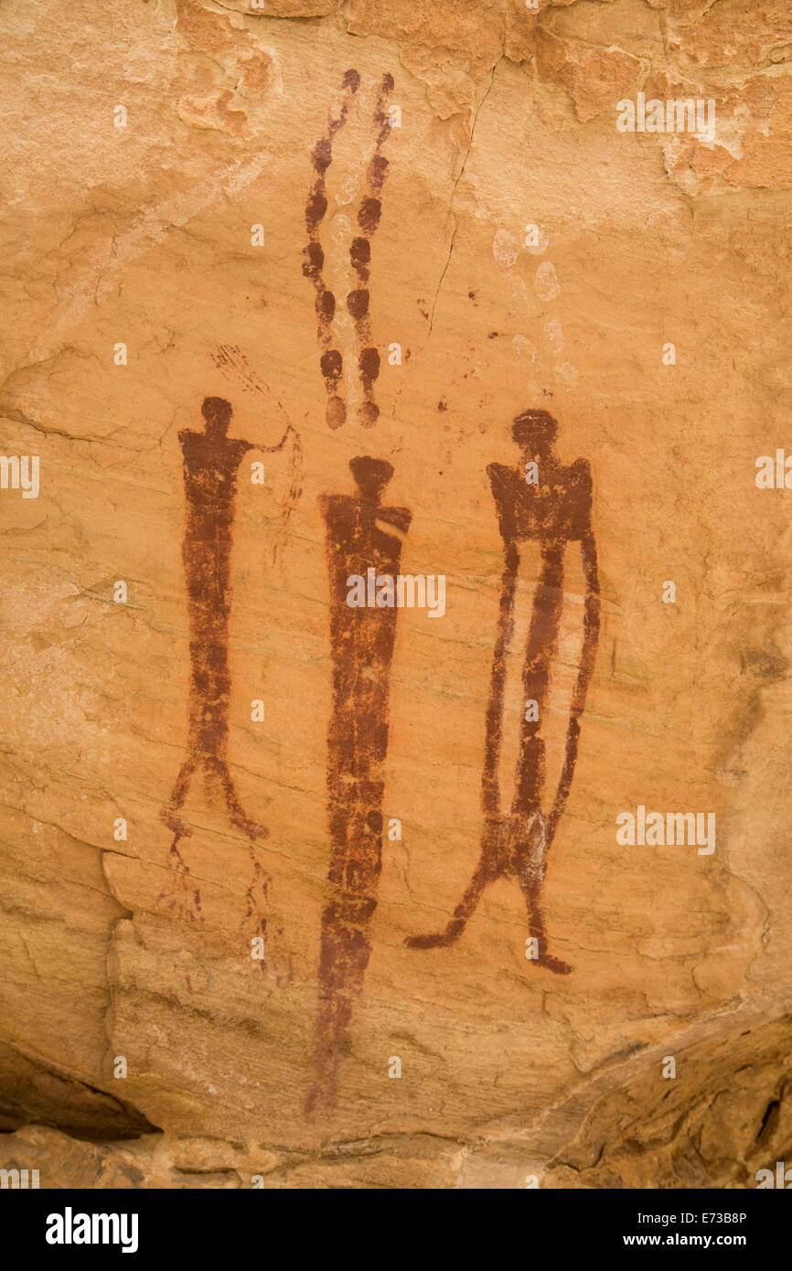Wild Horse Canyon Pictograph Panel, Barrier Canyon style, near Hanksville, Utah, United States of America, North - Stock Image