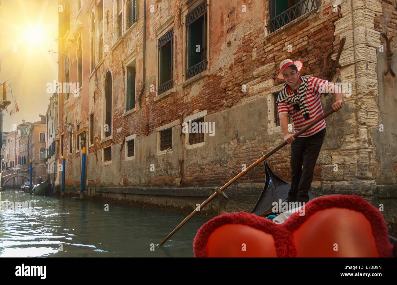 Gondolier, Venice, UNESCO World Heritage Site, Veneto, Italy, Europe - Stock Image