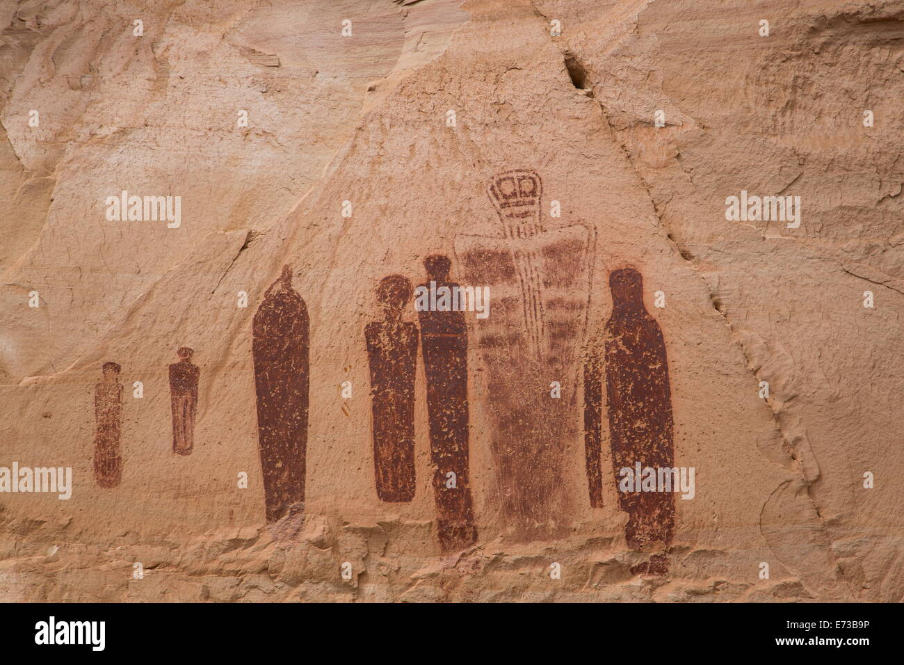 Great Gallery Pictograph Panel, Barrier Canyon Style, Horseshoe Canyon, Canyonlands National Park, Utah, USA - Stock Image