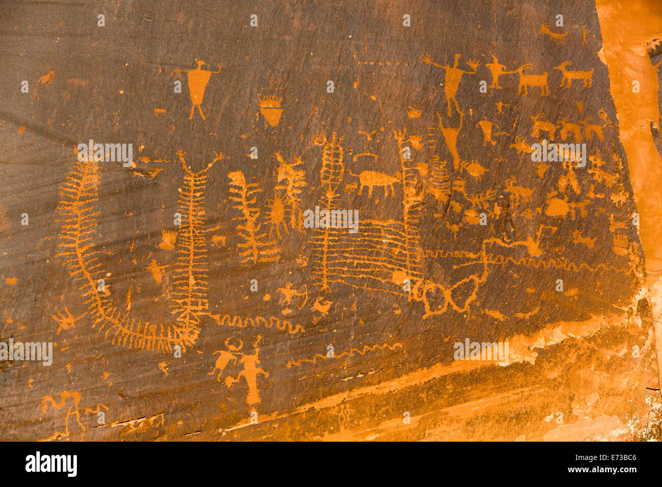 Petroglyphs, ancestral Puebloan, dating from AD 900 to AD 1250, Potash Road, near Moab, Utah, United States of America - Stock Image