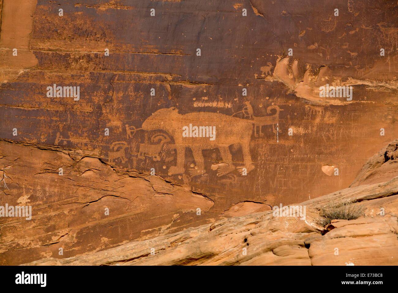 Petroglyphs, ancestral Puebloan, dating from AD 900 to AD 1250, Potash Road, near Moab, Utah, United States of America Stock Photo