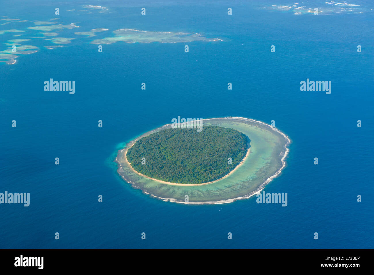 Aerial photo of a little island in Tonga, South Pacific, Pacific - Stock Image