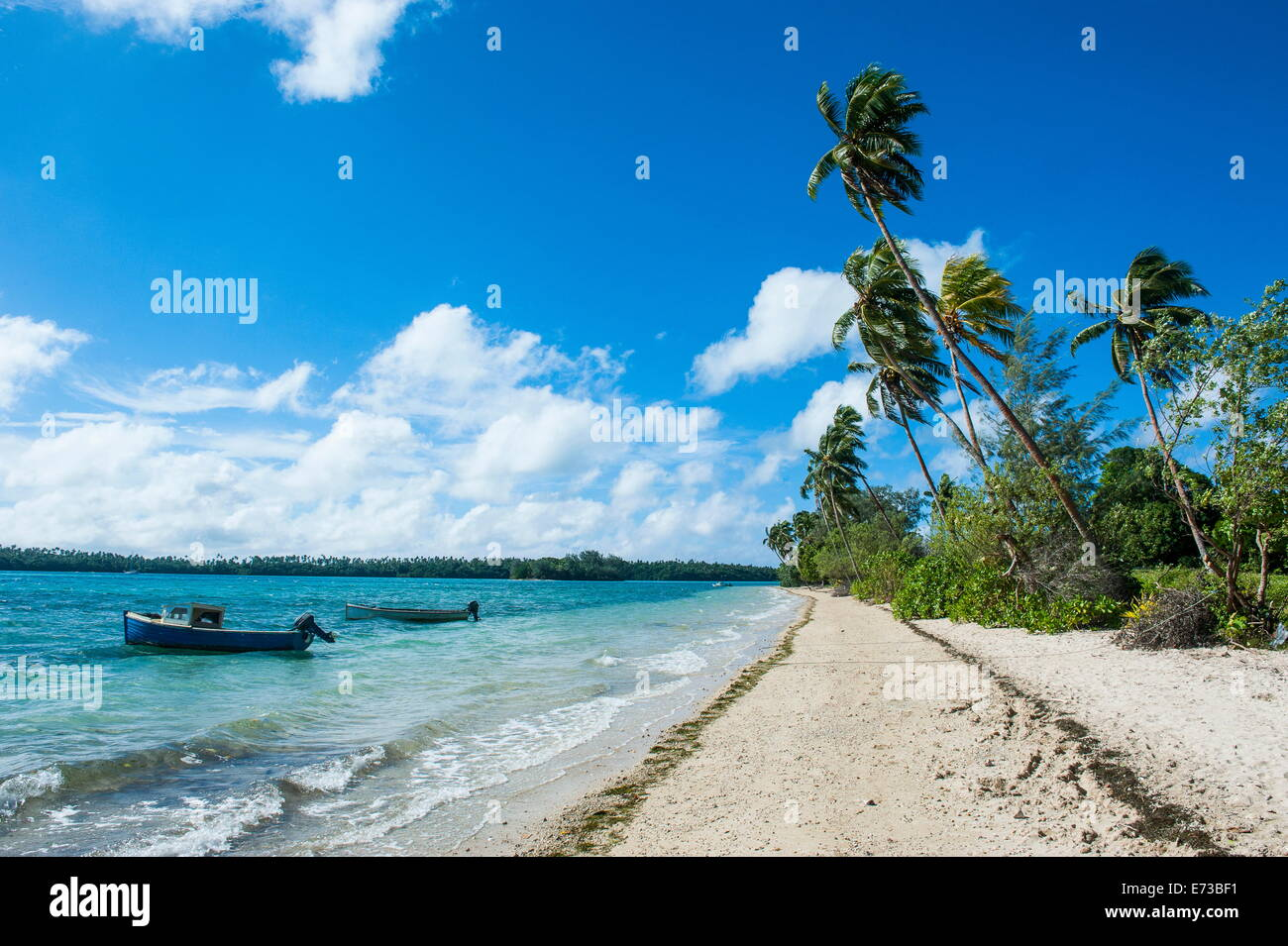 Palm fringed white sand beach on an islet of Vavau, Vavau Islands, Tonga, South Pacific, Pacific - Stock Image