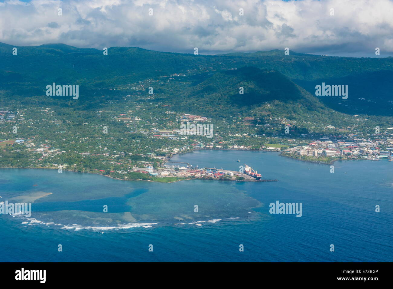 Aerial of the island of Upolu, Samoa, South Pacific, Pacific - Stock Image