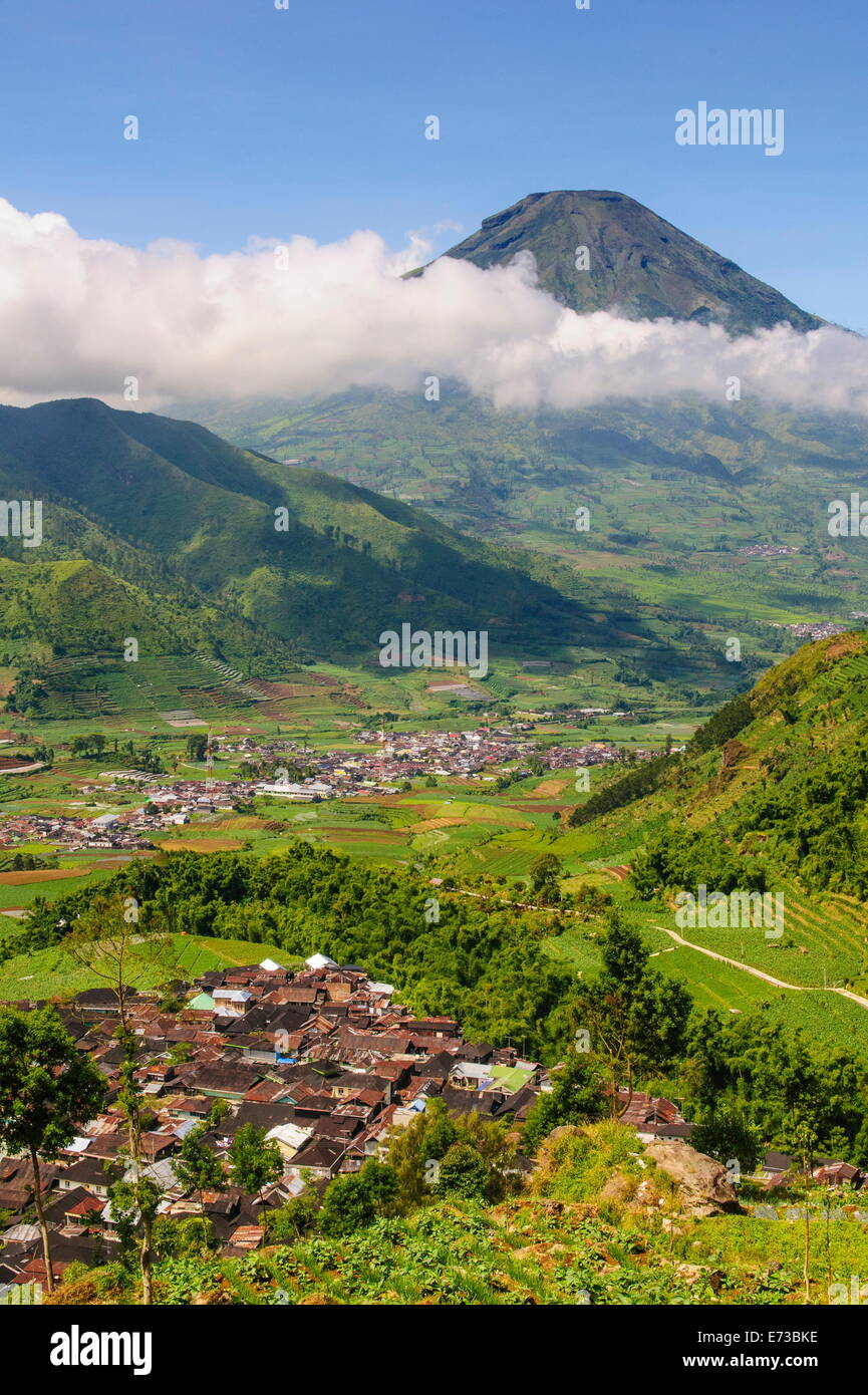 View over the Dieng Plateau, Java, Indonesia, Southeast Asia, Asia - Stock Image