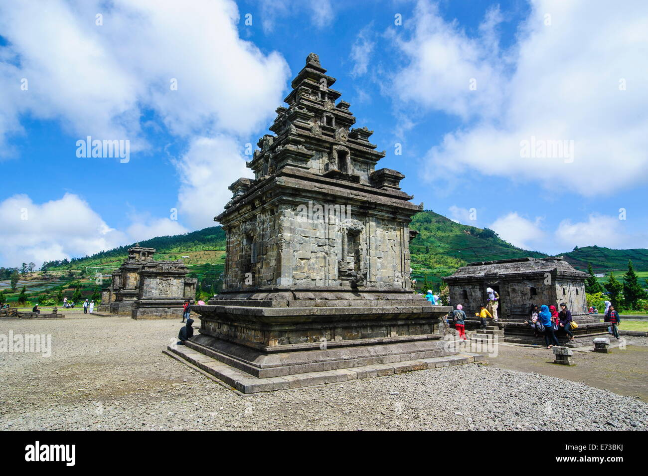 Arjuna Hindu Dieng temple complex, Dieng Plateau, Java, Indonesia, Southeast Asia, Asia - Stock Image