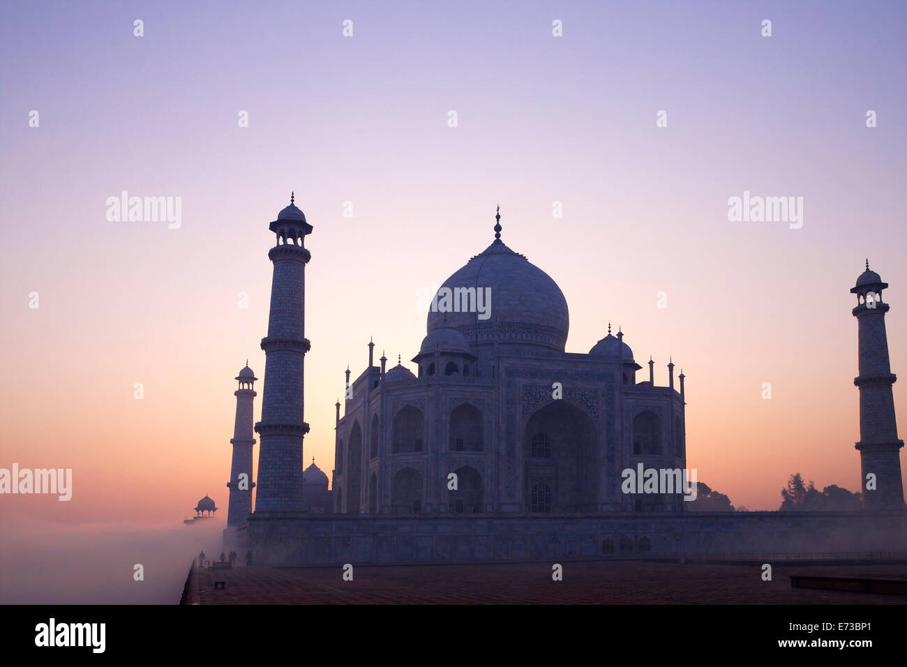 Taj Mahal at sunrise, UNESCO World Heritage Site, Agra, Uttar Pradesh, India, Asia - Stock Image