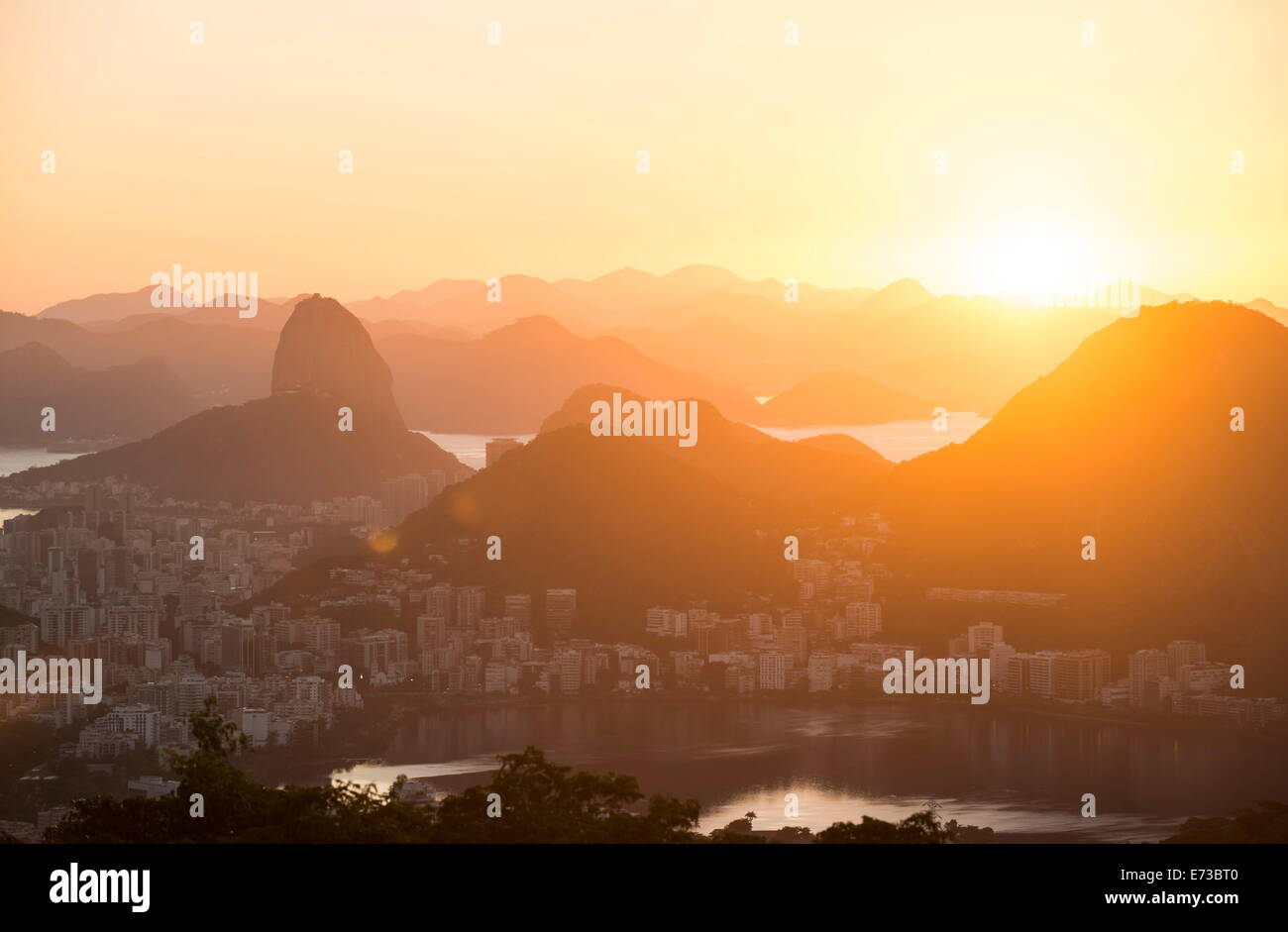 View from Chinese Vista at dawn, Rio de Janeiro, Brazil, South America Stock Photo