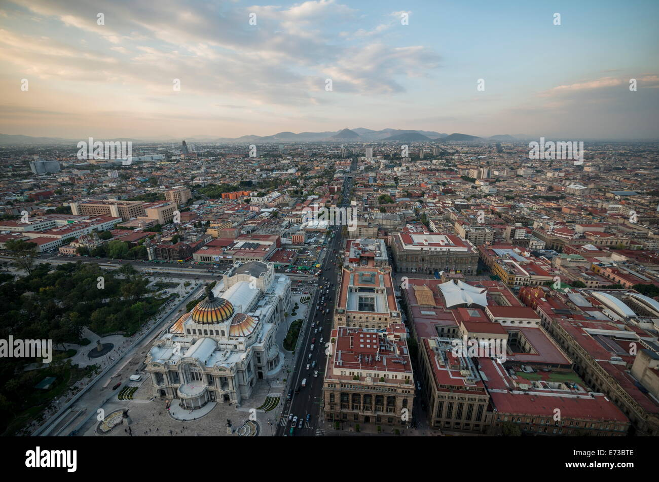 View from Torre Latinoamerica at dusk over Mexico City, Mexico, North America - Stock Image