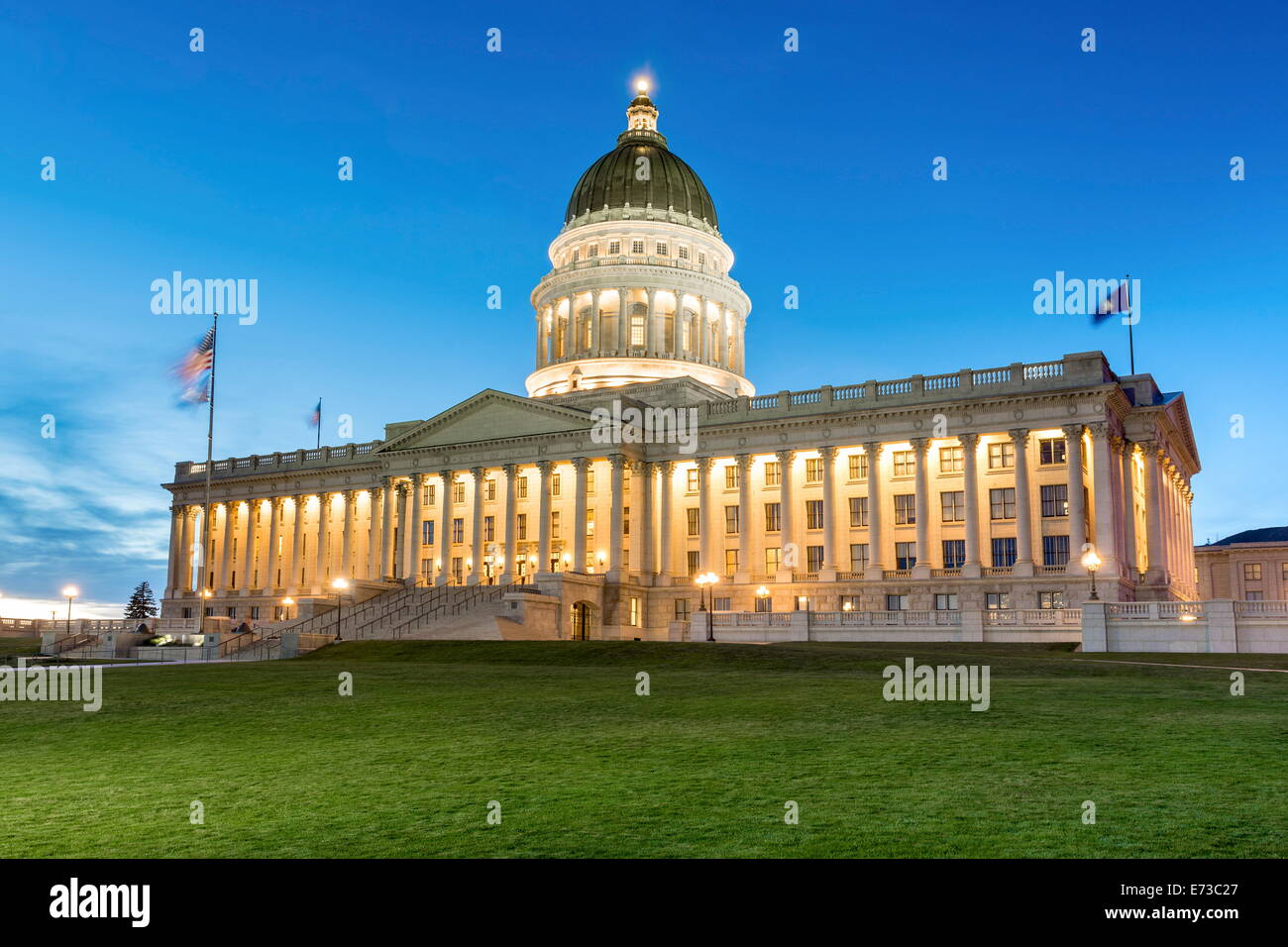 The Utah State Capitol Building at dusk, Salt Lake City, Utah, United States of America, North America - Stock Image