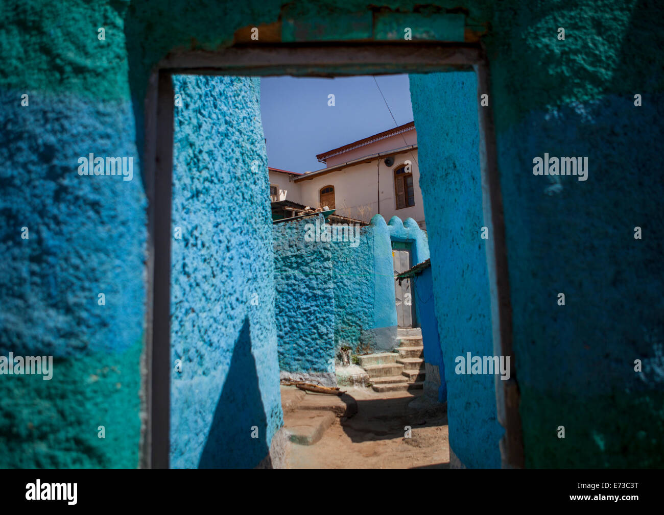 Blue Painted Doorway To House In Old Town, Harar, Ethiopia - Stock Image