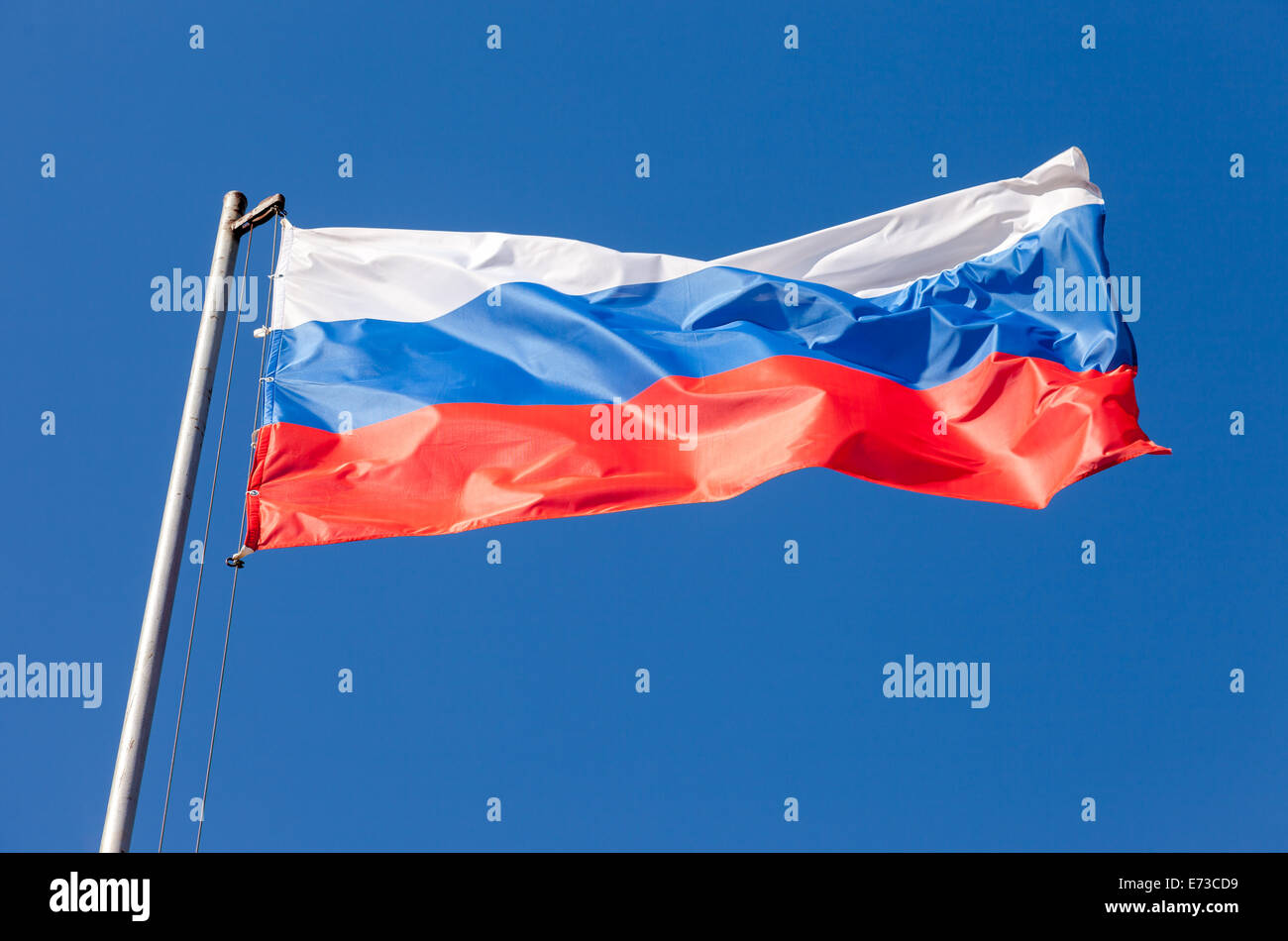 Russian flag waving in the wind over blue sky - Stock Image