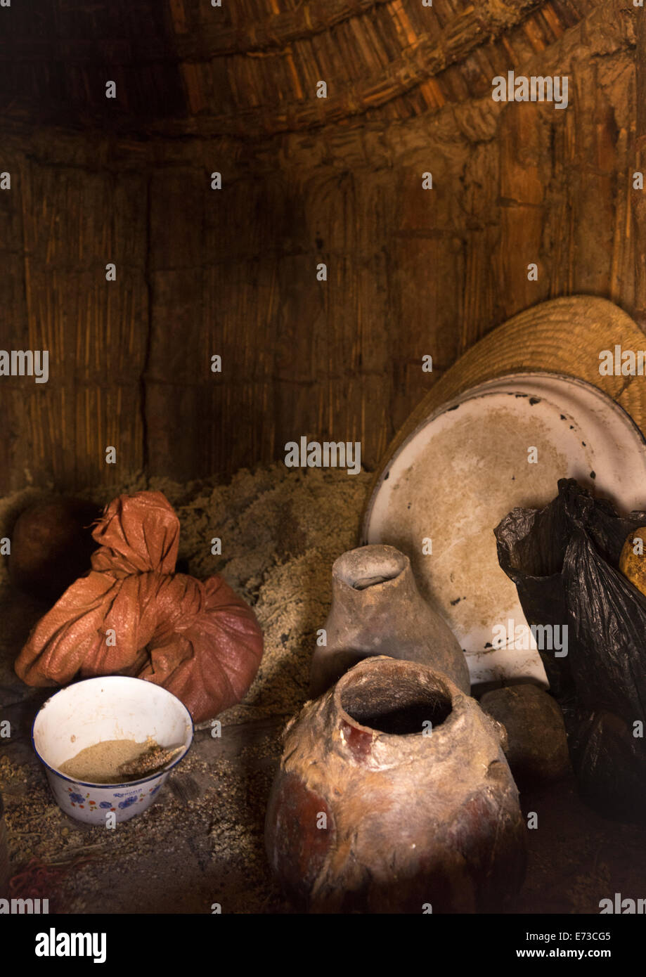 Iside A Konso Tribe Granary, Konso, Ethiopia - Stock Image
