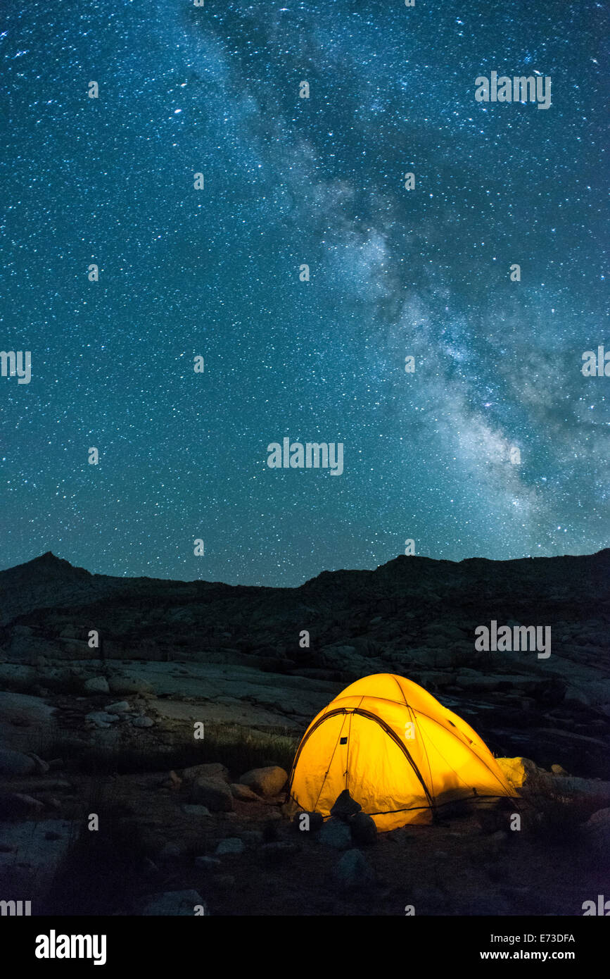 Glowing tent and stars in High Sierra & Glowing tent and stars in High Sierra Stock Photo: 73220542 - Alamy