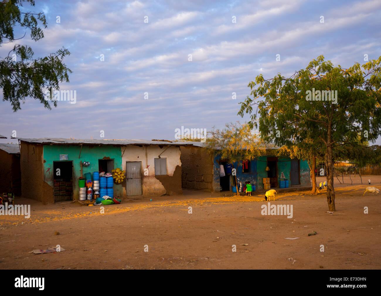 Shops In The City, Turmi, Omo Valley, Ethiopia - Stock Image