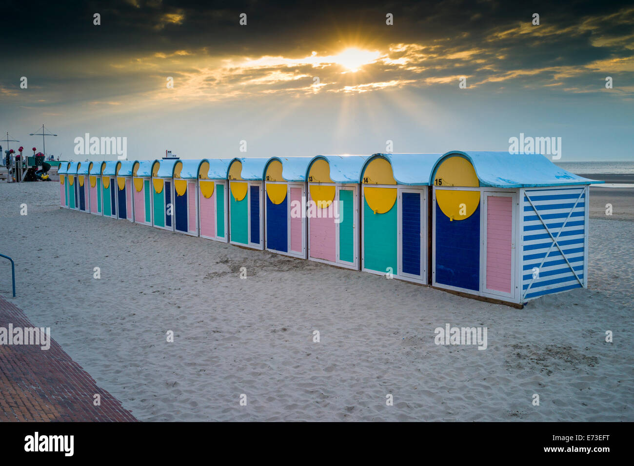 Brightly coloured Beach Huts Dunkirk Dunkerque Northern France Sunset - Stock Image