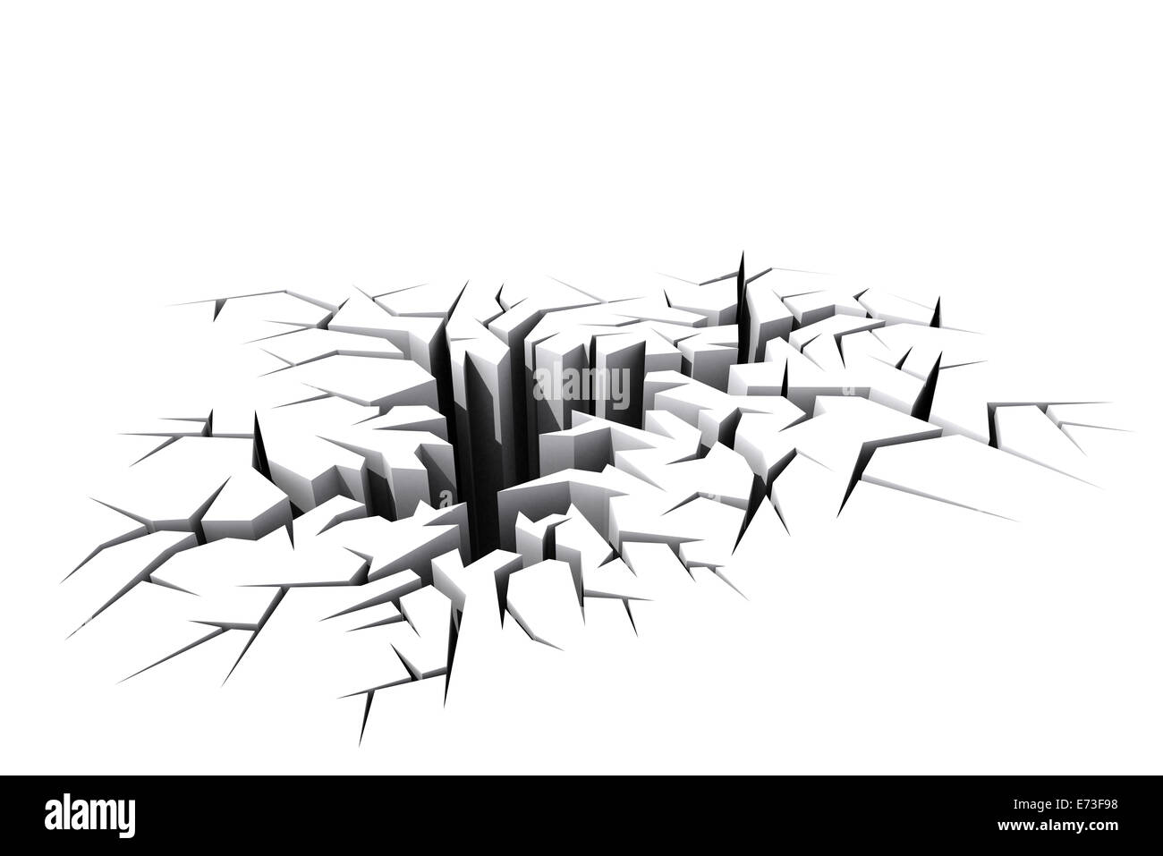 White Cracked Ground Floor Rendered In 3d Stock Photo