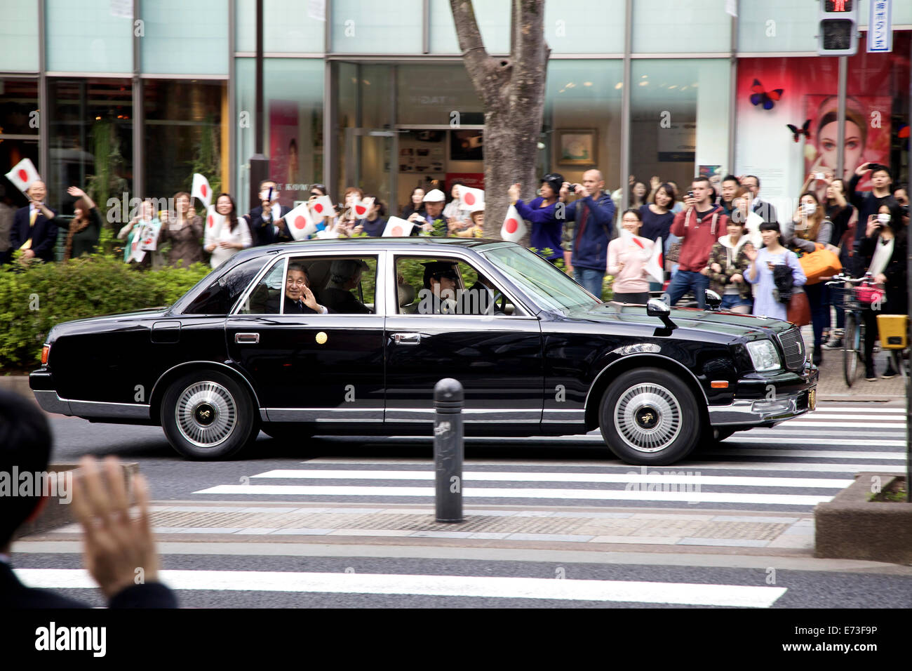 Japanese emperor Akihito in car, Omote-sando, Harajuku area, Tokyo, Japan, Asia Stock Photo