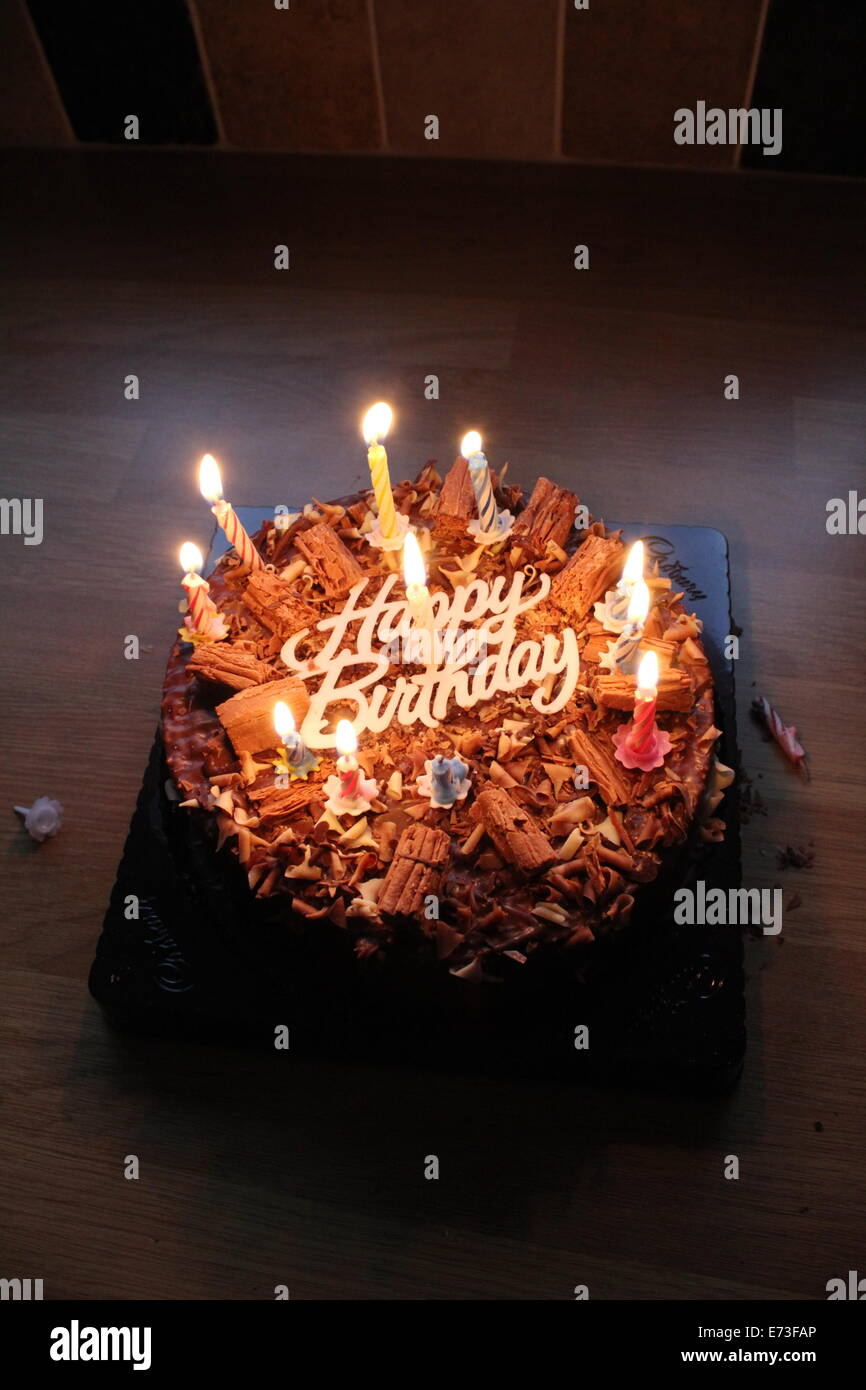 happy birthday chocolate cake with candles Stock Photo 73221982 Alamy