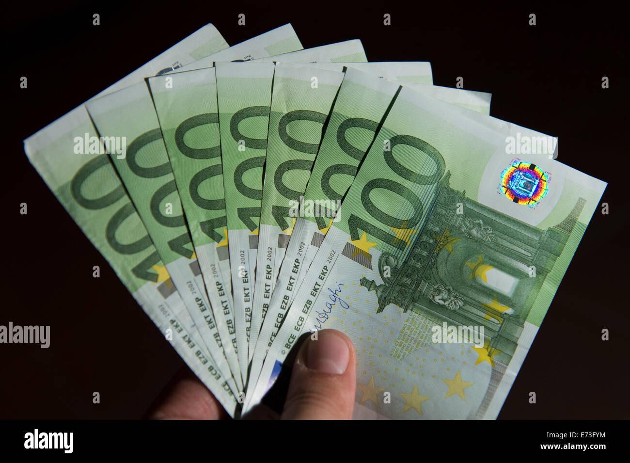 Many euro banknotes, 29 August 2014 in Hamburg. Stock Photo