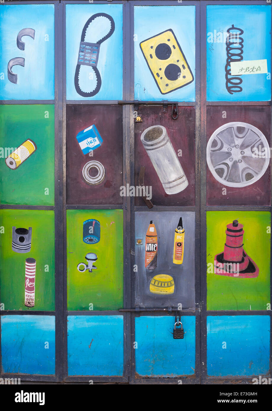 Painted Advertising For Spare Parts Shop, Harar, Ethiopia - Stock Image