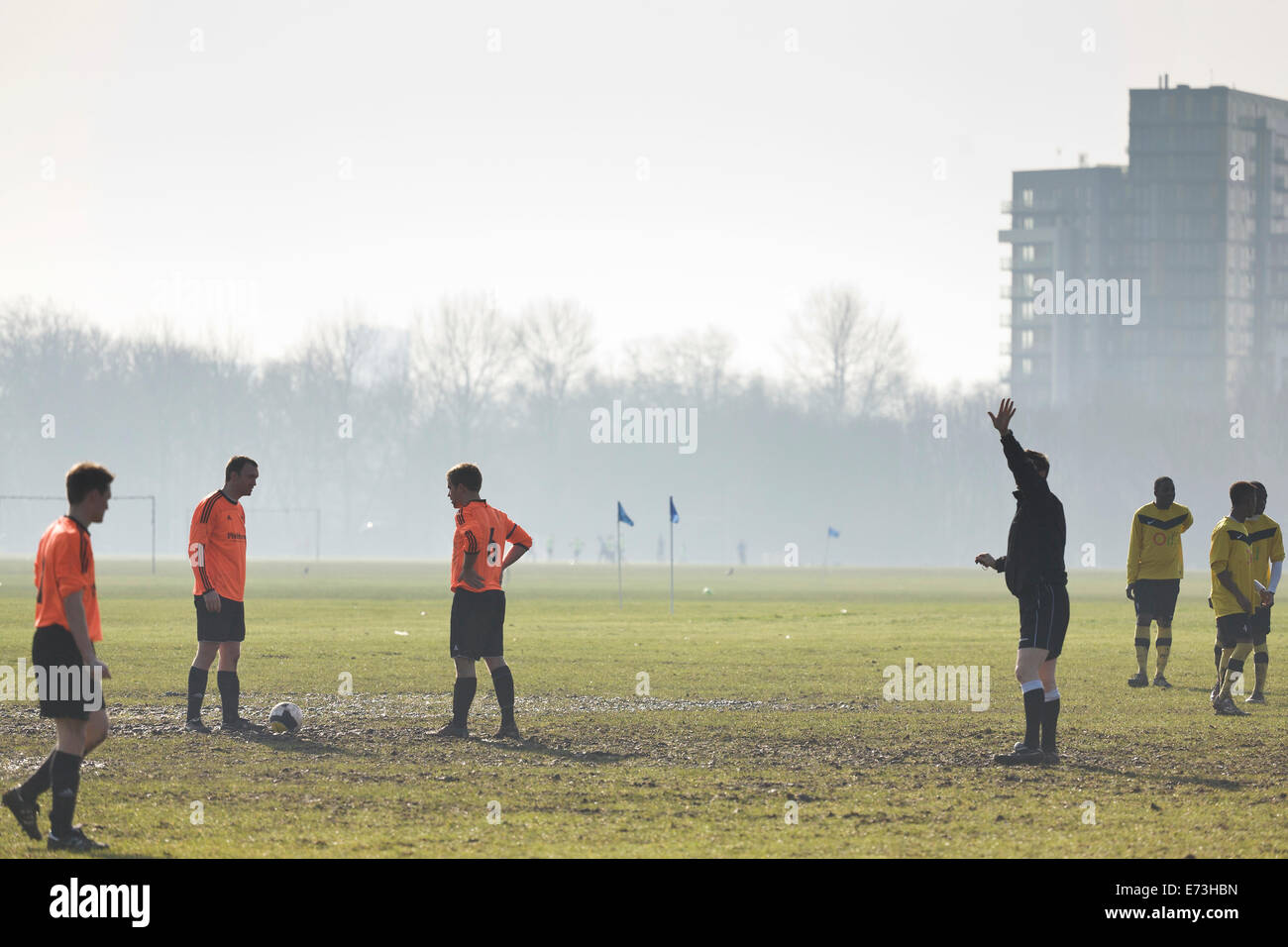 Hackney Marshes Sunday league, players get ready for start of match - Stock Image