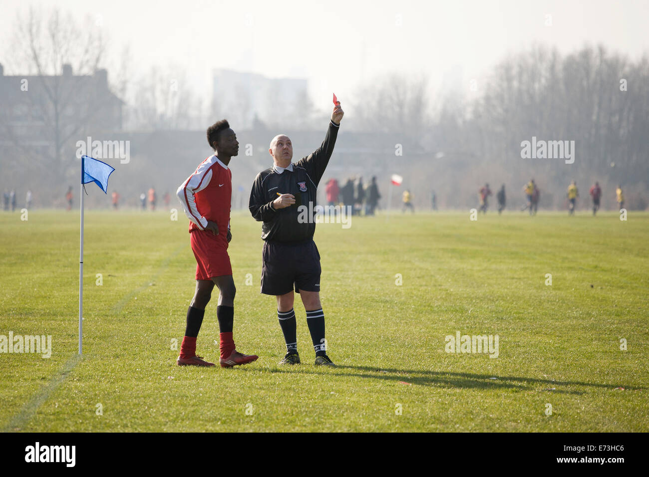 Hackney Marshes Sunday league, player gets marching orders. Stock Photo