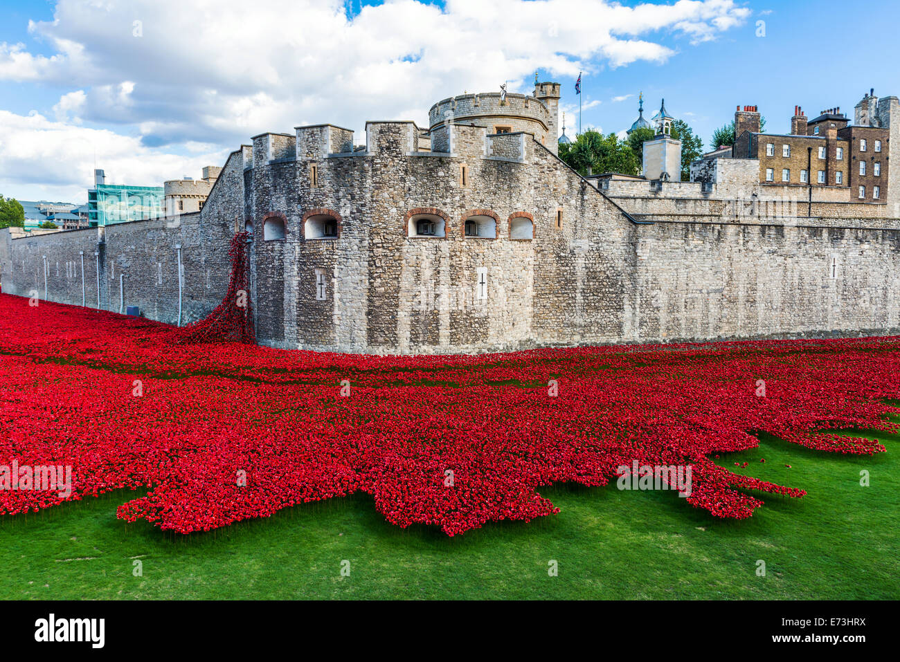 'Blood Swept Lands and Seas of Red' - the art installation at Tower of London  features 888,246 ceramic - Stock Image