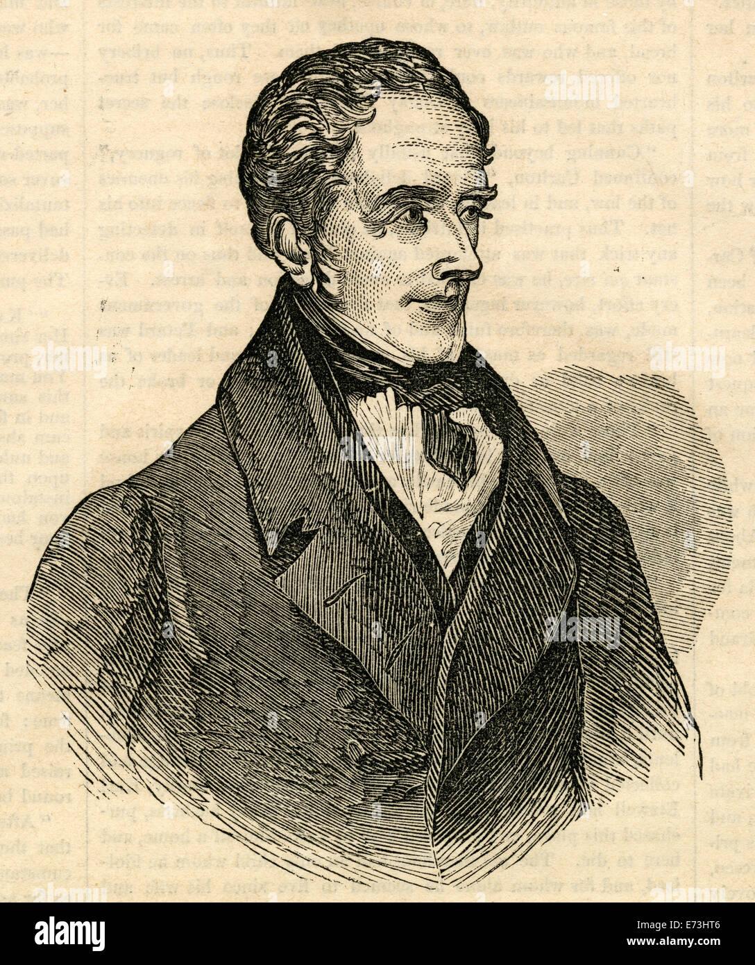 Antique 1854 engraving, portrait of Thomas Moore. Thomas Moore (1779-1852) was an Irish poet, singer, songwriter, - Stock Image