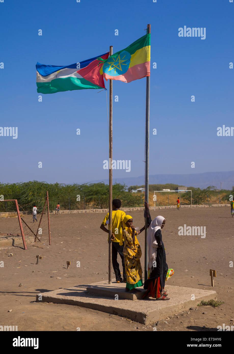 Afar And Ethiopian Flags In Kebir Tobolo School, Afambo, Afar Region, Ethiopia - Stock Image