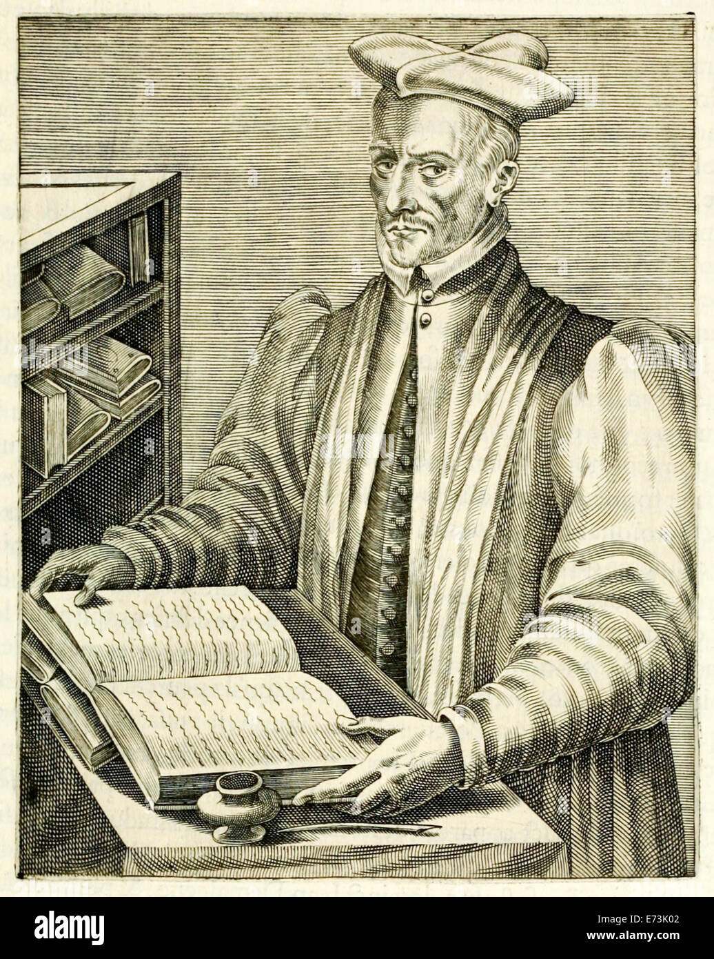 """Jacques de Billy de Prunay (1535-1581) from """"True Portraits…"""" by André Thévet published in 1584. See description Stock Photo"""