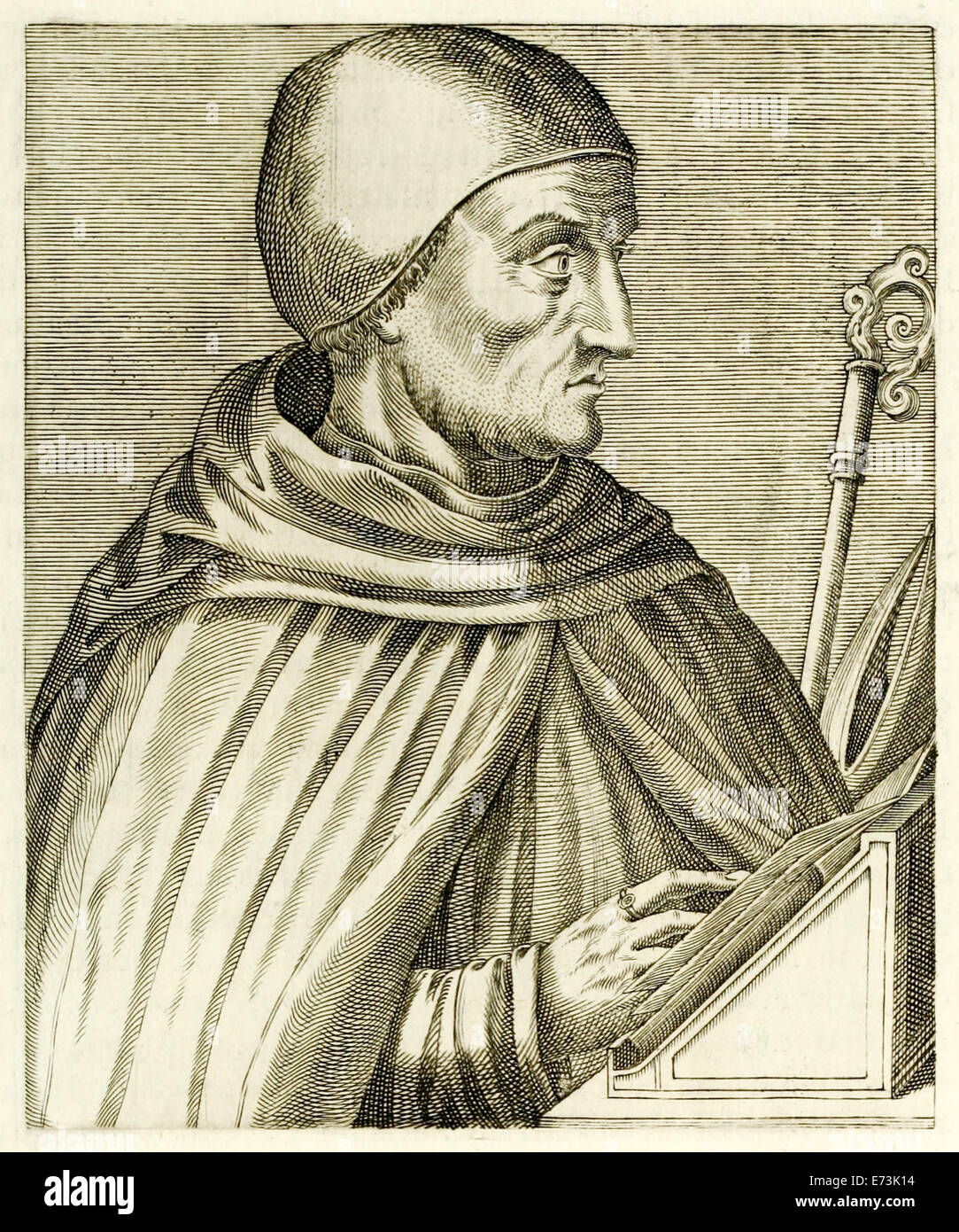 "Albertus Magnus (the Great) (before 1200-1280) from ""True Portraits…"" by André Thévet published in 1594. - Stock Image"