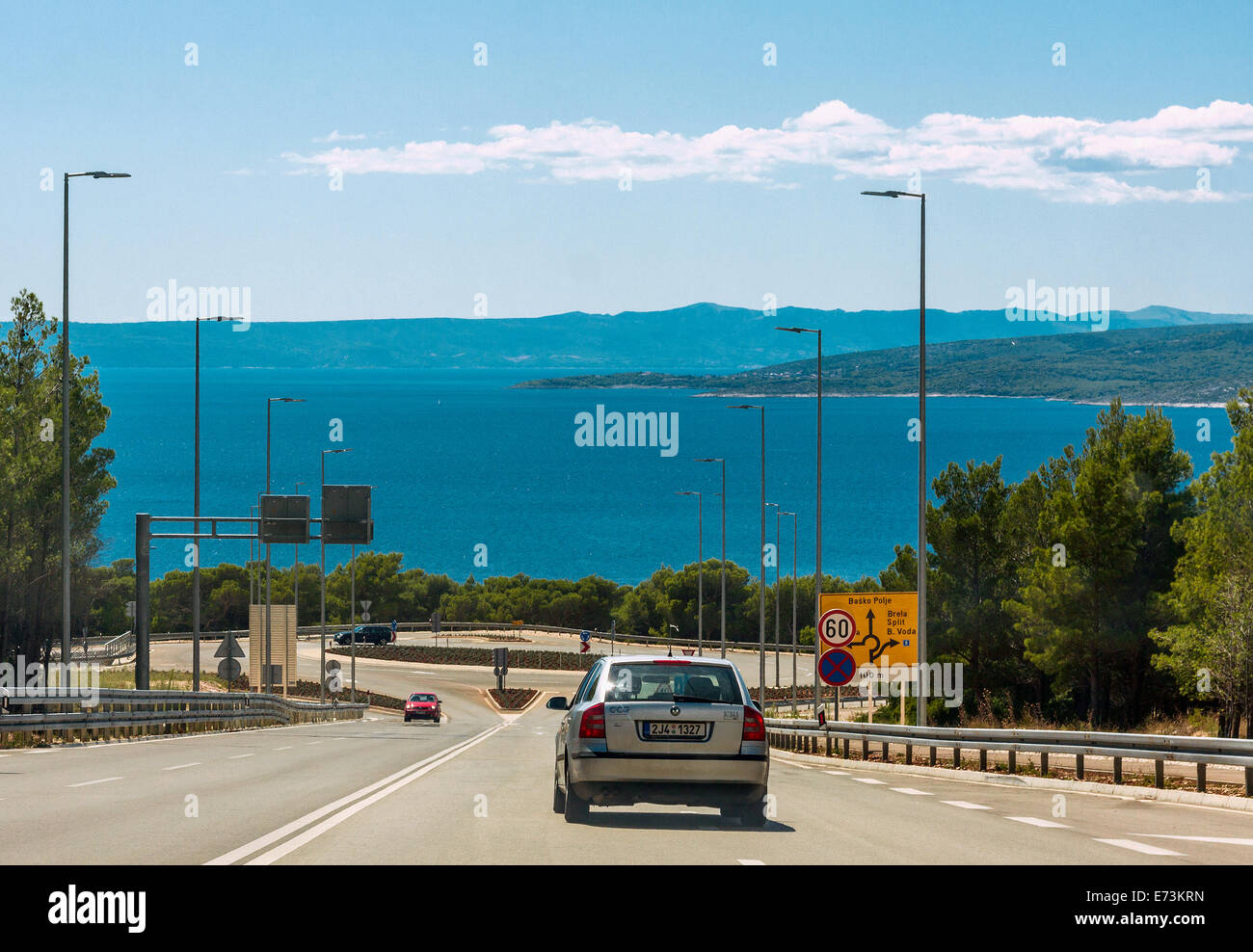 Cars in Baska Voda, Croatia - Stock Image