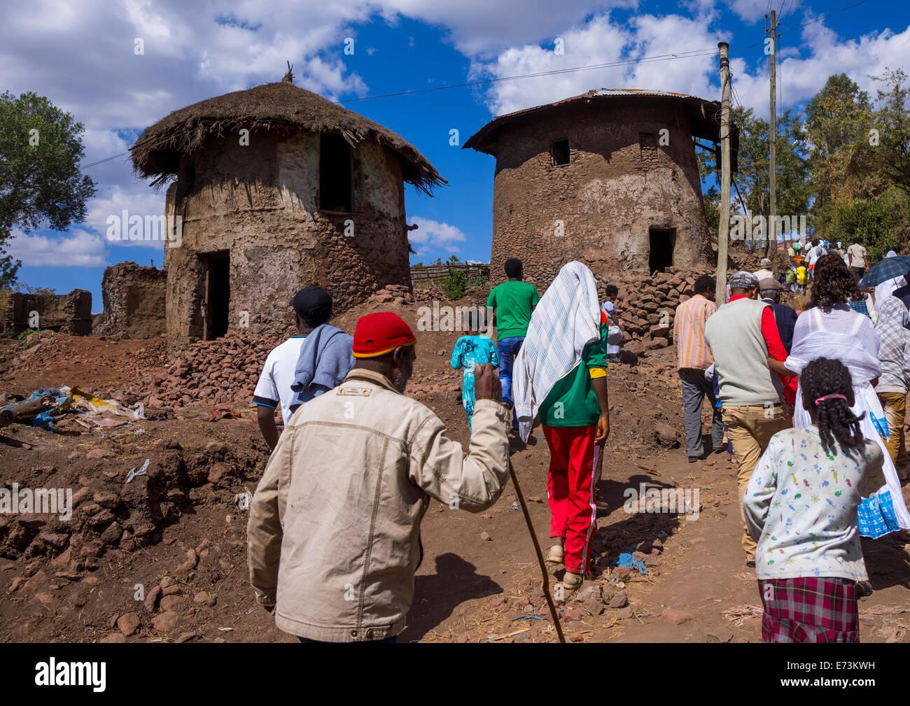 Pilgrims Crowd During Timkat Epiphany Festival, Lalibela, Ethiopia Stock Photo