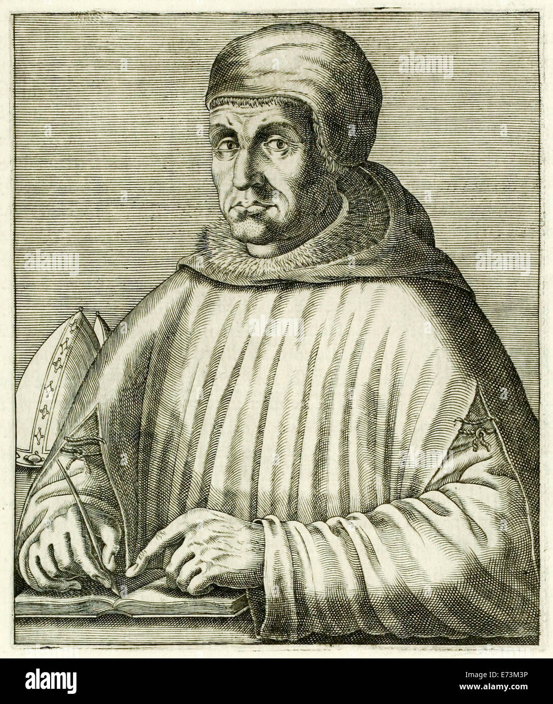 """Peter Lombard (1096-1164) from """"True Portraits…"""" by André Thévet published in 1594. See description for - Stock Image"""
